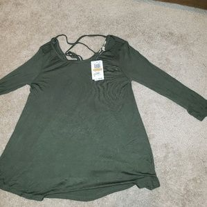 olive green long sleeve lace up back